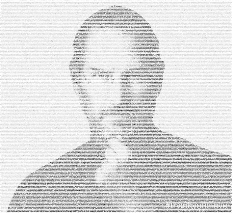 Image of Steve Jobs made of tweets - Atlanta Celebrity News
