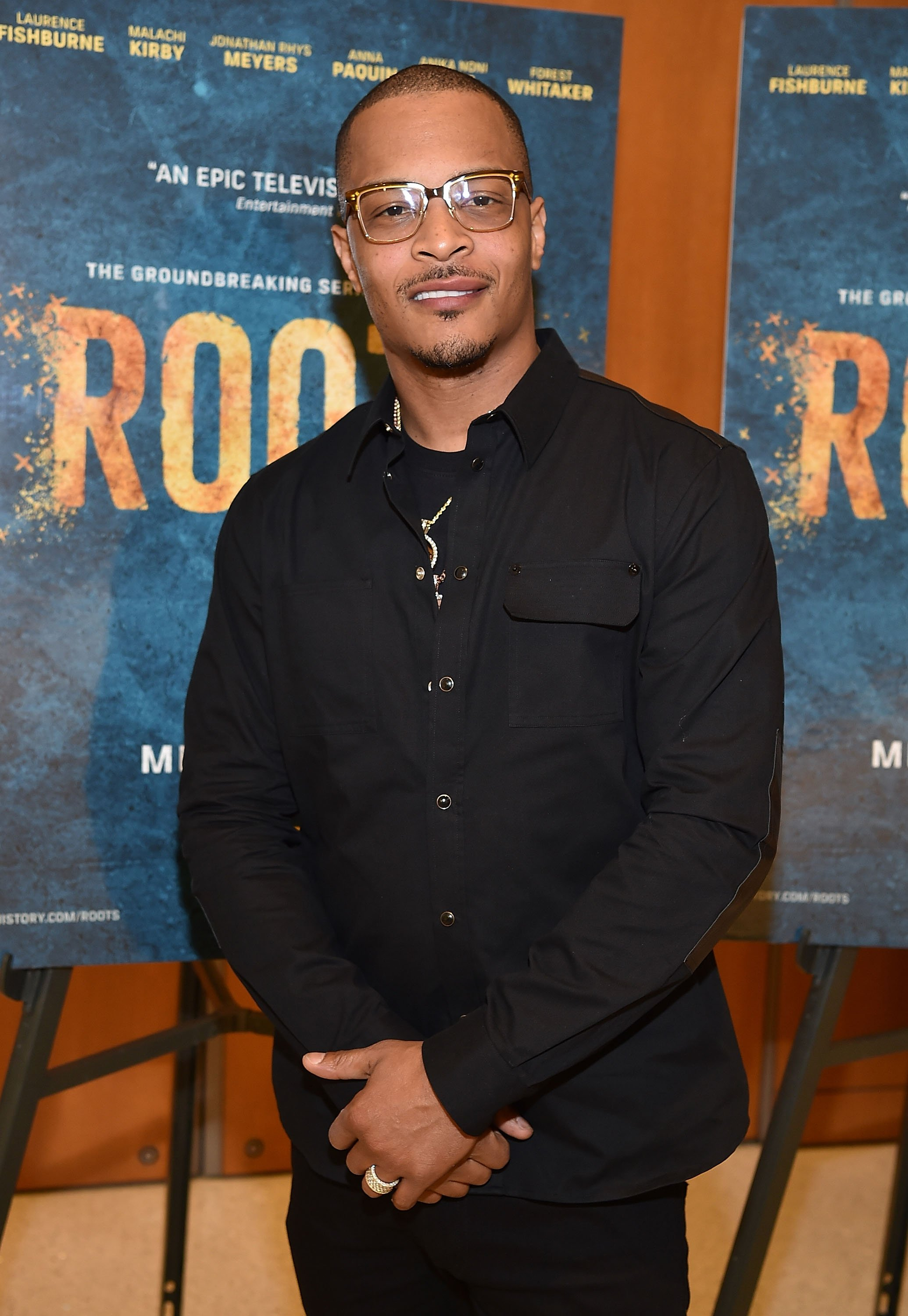 """""""ATLANTA, GA - MAY 09: (EXCLUSIVE COVERAGE) Actor/rapper Tip """"T.I."""" Harris attends HISTORY's """"Roots"""" Atlanta advanced screening at National Center for Civil and Human Rights on May 9, 2016 in Atlanta, Georgia. (Photo by Paras Griffin/Getty Images for History/Roots)"""""""